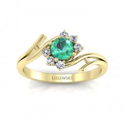 Złoty pierścionek ze szmaragdem i brylantami - P15244zsm