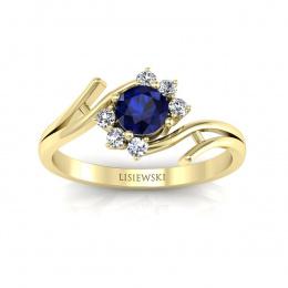 Pierścionek zaręczynowy z szafirem i brylantami - P15244zsz