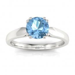 Złoty pierścionek zaręczynowy z topazem i brylantami - p15259ba