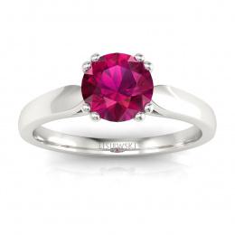 Złoty pierścionek zaręczynowy z rubinem i brylantami - p15259br