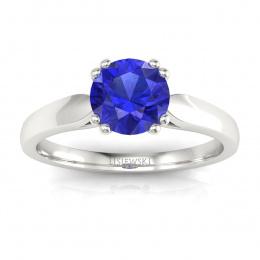 Złoty pierścionek z szafirem cejlońskim i brylantami - p15259bszc