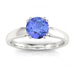 Złoty pierścionek z tanzanitem i brylantami - p15259bt