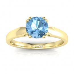 Złoty pierścionek z topazem i brylantami - p15259za