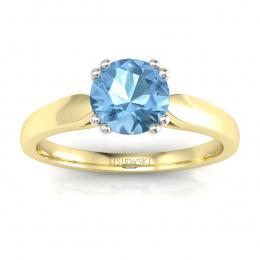 Złoty pierścionek z topazem i brylantami - p15259zba