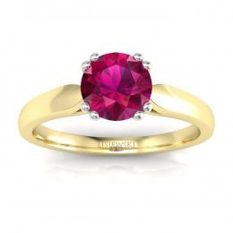 Złoty pierścionek z rubinem i brylantami - p15259zbr