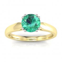 Złoty pierścionek ze szmaragdem i brylantami - p15259zbsm