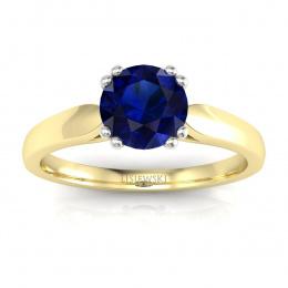 Złoty pierścionek z szafirem i brylantami - p15259zbsz