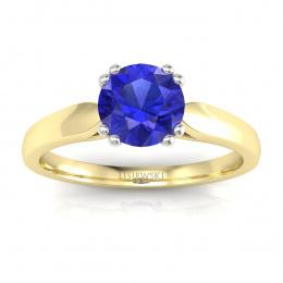 Złoty pierścionek z szafirem cejlońskim i brylantami - p15259zbszc