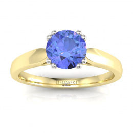 Złoty pierścionek z tanzanitem i brylantami - p15259zbt