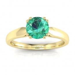 Złoty pierścionek zaręczynowy ze szmaragdem i brylantami - p15259zsm