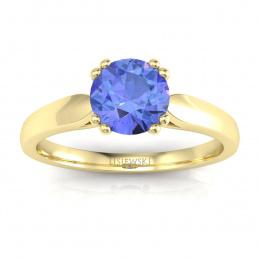 Złoty pierścionek z tanzanitem i brylantami - p15259zt