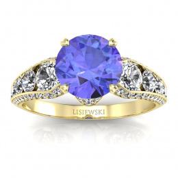 Złoty pierścionek z tanzanitem i brylantami - p15280zt