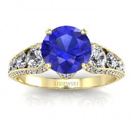 Złoty pierścionek z szafirem cejlońskim i brylantami - p15280zszc