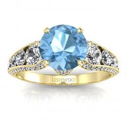 Złoty pierścionek z topazem i brylantami - p15280za