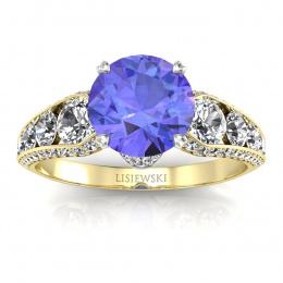 Złoty pierścionek z tanzanitem i brylantami - p15280zbt