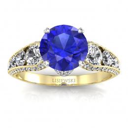 Złoty pierścionek z szafirem cejlońskim i brylantami - p15280zbszc