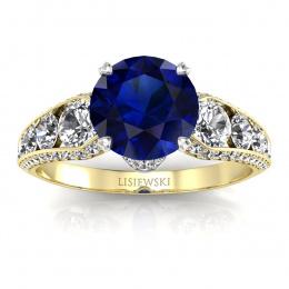 Złoty pierścionek zaręczynowy z szafirem i brylantami - p15280zbsz