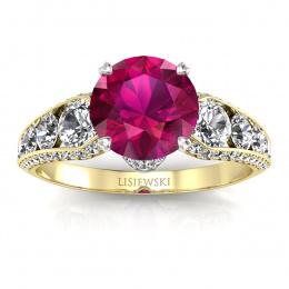 Złoty pierścionek z rubinem i brylantami - p15280zbr