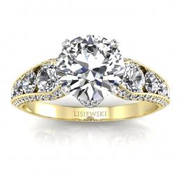 Złoty pierścionek z brylantami - p15280zb