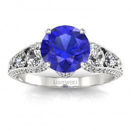 Złoty pierścionek z szafirem cejlońskim i brylantami - p15280bszc