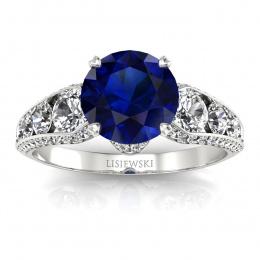 Złoty pierścionek zaręczynowy z szafirem i brylantami - p15280bsz