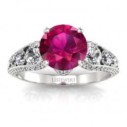 Złoty pierścionek z rubinem i brylantami - p15280br