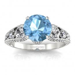 Złoty pierścionek zaręczynowy z topazem i brylantami - p15280ba