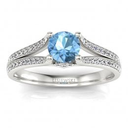Pierścionek zaręczynowy z topazem brylanty białe złoto - p16180ba