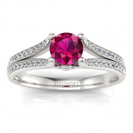 Zaręczynowy pierścionek z rubinem białe złoto - p16180br