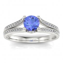 Pierścionek zaręczynowy z tanzanitem diamenty - p16180bt