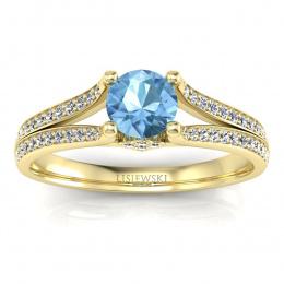 Pierścionek zaręczynowy z topazem brylanty żółte złoto - p16180za