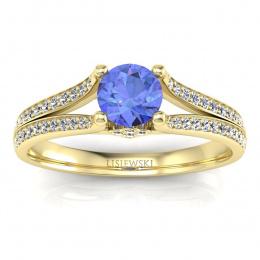 Pierścionek zaręczynowy tanzanit brylanty żółte złoto 585 - p16180zt