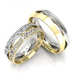 Złote obrączki ślubne z brylantami - S60170T53zb