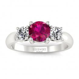 Pierścionek zaręczynowy z rubinem, diamentami, białe złoto - 20043br