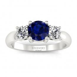 Zaręczynowy pierścionek z brylantami, szafirem - 20043bsz