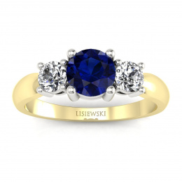 Złoty pierścionek z szafirem, brylanty, dwukolorowe złoto - 20043zbsz