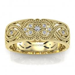 Obrączka złota z diamentami - p16282z