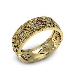 Obrączka pojedyncza żółte złoto rubiny brylanty- p16282zr