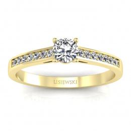 Złoty pierścionek zaręczynowy z brylantami - p16312z