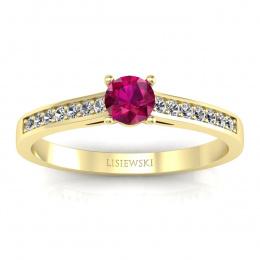 Złoty pierścionek z rubinem i brylantami - p16312zr