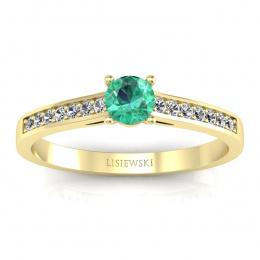 Złoty pierścionek zaręczynowy ze szmaragdem i brylantami - p16312zsm