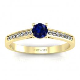 Złoty pierścionek zaręczynowy z szafirem i brylantami - p16312zsz