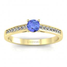 Złoty pierścionek z tanzanitem i brylantami -  p16312zt
