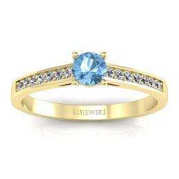 Złoty pierścionek z topazem i brylantami - p16312ztp