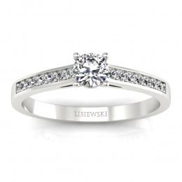 Pierścionek zaręczynowy z brylantami białe złoto - p16312b