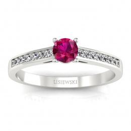 Złoty pierścionek z rubinem i brylantami - p16312br