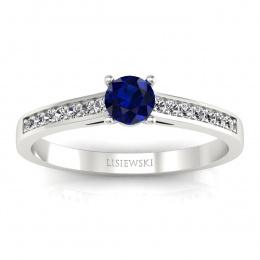 Złoty pierścionek zaręczynowy z szafirem i brylantami - p16312bsz