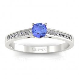 Złoty pierścionek z tanzanitem i brylantami - p16312bt