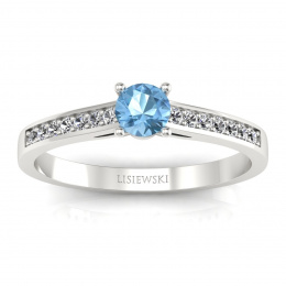 Złoty pierścionek z topazem i brylantami - p16312btp