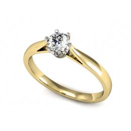 Pierścionek zaręczynowy z brylantem, złoto dwukolorowe - p16330zb